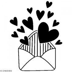Sello de madera Amor - Sobre corazón - 4,5 x 3,5 cm - Fotografía n°1