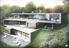 Folding House, AR Design Studio, Winchester, Hampshire, UK (via Gau Paris) Villa Architecture, Contemporary Architecture, Rendering Architecture, Contemporary Apartment, Modern Contemporary, Contemporary Landscape, Folding Architecture, Concrete Architecture, Contemporary Cottage