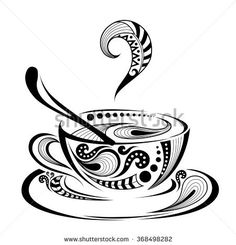 Patterned Colored Cap Of Coffee. It May Be Used For Design Of A T-shirt, Bag, Postcard And Menu. Stock Vector - Illustration of grain, chief: 65749884 Doodle Art Drawing, Mandala Drawing, Pencil Art Drawings, Art Drawings Sketches, Coffee Doodle, Coffee Cup Art, Tea Cup Drawing, Totem Tattoo, Mandala Artwork