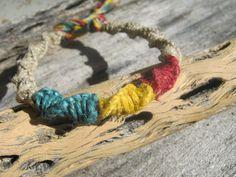 Rasta Macrame Bracelet Adjustable Red Gold & by Abundantearthworks, $7.25