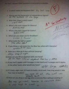 Humor Discover Funny Test Answers from Smart Ass Kids: Borderline Genius - Humor Funny Test Answers Funny School Answers Kids Test Answers Riddles With Answers Clever Yahoo Answers Funny Laughing So Hard Kids Laughing Just For Laughs Funny Texts Funny Test Answers, Riddles With Answers Clever, Funny Questions With Answers, Kids Test Answers, Funny School Answers, Be My Hero, Funny Pins, Funny Stuff, Funny Humor