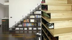 More stairways and shelves...clever, classy. #Books #Shelves #Stairways