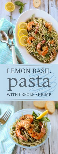 Creole Shrimp with Lemon Basil Pasta | Delicious Creole Spicy Shrimp atop a tangy lemon pasta, a perfect blend of flavors and textures! Serve for dinner at the beach or any poolside gathering. A wonderful simple treat for all! Yum! | http://WorldofPastabilities.com