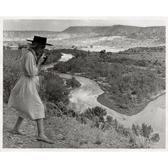 """On view at the O'Keeffe now: Todd Webb, """"Georgia O'Keeffe Photographing the Chama Valley, New Mexico,"""" 1961 Gelatin silver print 8 x 10 in. (2006.06.0983). Copyright Todd Webb Estate. Gift of The Georgia O'Keeffe Foundation."""