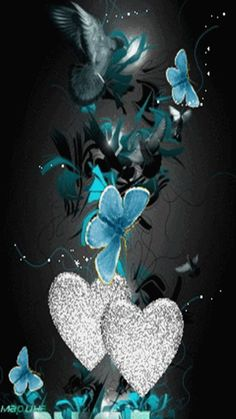 Animated Gif by Kevin and Amanda Kennedy Butterfly Gif, Butterfly Background, Butterfly Pictures, Butterfly Wallpaper, Heart Wallpaper, Cellphone Wallpaper, Wallpaper Backgrounds, Wallpapers, Blue Butterfly