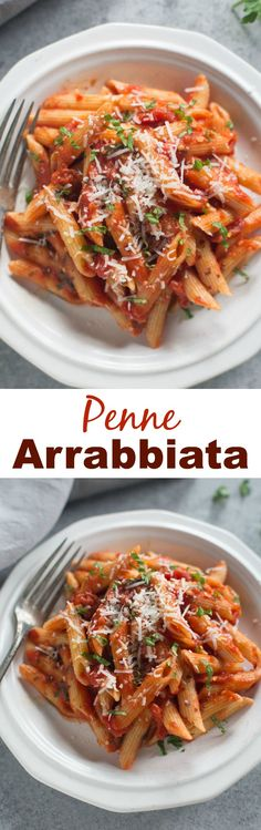 We LOVE this spicy Italian pasta that only takes 20 minutes to make! Penne Arrabbiata in a spicy tomato based sauce with fresh parmesan, basil and parsley.| Tastes Better From Scratch