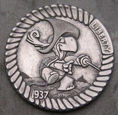 """""""Royal Musketeer Turtle"""" Hobo Nickel carved by Steve Cox Hobo Nickel, Coin Art, Old Coins, Tortoises, Musketeers, Turtles, Soldiers, Warriors, Folk"""