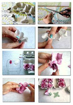 egg container to roses - Caixa de Ovos #reciclagem #recicle