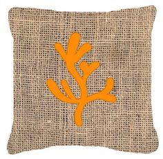 Coral Burlap Indoor/Outdoor Throw Pillow