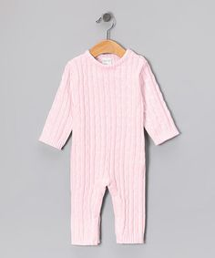 Look what I found on #zulily! Pink Cable-Knit Playsuit - Infant by Tots Fifth Avenue #zulilyfinds