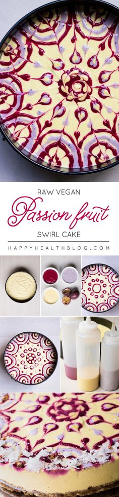 raw passion fruit swirl cake is part of Raw vegan desserts - Raw passion fruit swirl cake Beautifulart Passion Desserts Crus, Raw Vegan Desserts, Raw Vegan Recipes, Vegan Treats, Just Desserts, Dessert Recipes, Vegan Cake, Cake Recipes, Vegan Cheesecake