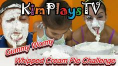 Get 10 Gummy WORMS Out of the WHIPPED Cream PIE With Your MOUTH Challenge