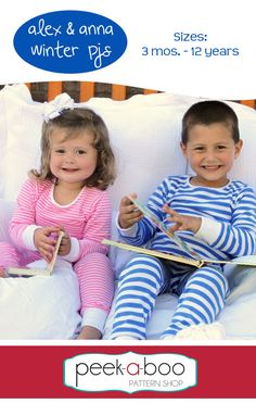 Alex and Anna Winter Pajamas pyjamas sewing pattern for boys and girls – Go To Patterns Toddler Pajamas, Girls Pajamas, Kids Patterns, Pdf Sewing Patterns, Clothing Patterns, Sewing For Kids, Baby Sewing, Sew Baby, Pajama Pattern