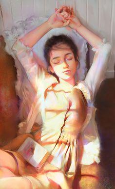 Después de una buenas lectura, un buen descanso soñador (ilustración de Talipova Darya)