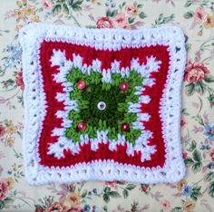 LisaSh's *Just Peachy Christmas Crochet Squares Afghan, Crochet Blocks, Crochet Blanket Patterns, Granny Squares, Holiday Crochet Patterns, Granny Square Crochet Pattern, Crochet Motif, Christmas Afghan, Christmas Squares