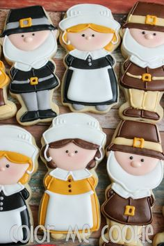 23 Thanksgiving-Themed Cookies You Need to Make - Captain Decor Fall Decorated Cookies, Fall Cookies, Cut Out Cookies, Cute Cookies, Holiday Cookies, Cupcake Cookies, Onesie Cookies, Turkey Cookies, Thanksgiving Cookies