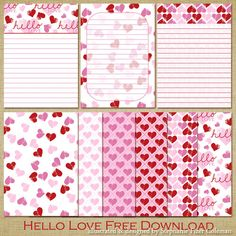 Free Download: Hello Love Journaling Cards
