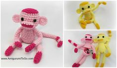 Rosey The Monkey and Friends With Egg and Without! ~ Amigurumi To Go