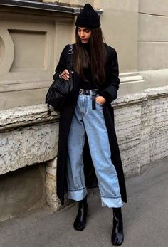 Winter Fashion Outfits, Look Fashion, Trendy Fashion, Casual Fall Fashion, Autumn Outfits Women, Outfits For Winter, Paris Winter Fashion, Winter Ootd, Jeans Outfit Winter