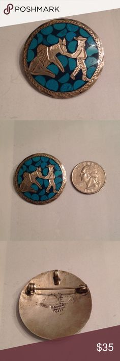 Vintage Mexico Sterling brooch/pendant Vintage Mexican brooch that can also be used as a pendant of an etched man and donkey with inlaid turquoise chips. Marked Mexico Sterling 925 with a makers mark, Showing patina good vintage condition Vintage Jewelry