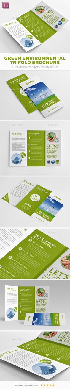 Green Environmental Trifold Brochure - Brochures Print Templates