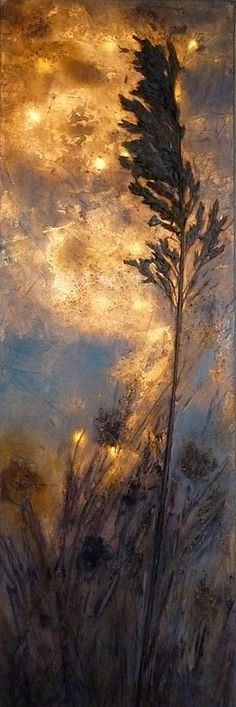 Field Edge - LED Lighted Canvas Painting, LED Wall Art, Original Acrylic Painting with LEDs, 11.81 x 35.4 inches, Collage, Mixed Media by Lichtgebilde on Etsy