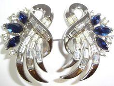 CROWN TRIFARI ALFRED PHILIPPE COMET BOOK PIECE Royal Blue Rhinestone Earrings