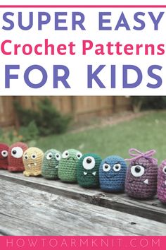 Crochet Projects for Kids: 9 Super Fun & Easy FREE Patterns Check out these crochet idea for kids projects that are super easy and great for beginners. Beginner Crochet Projects, Easy Knitting Projects, Crochet Patterns For Beginners, Easy Crochet Patterns, Kids Patterns, Crochet Stitches, Learn To Crochet, Crochet For Kids, Crochet Simple