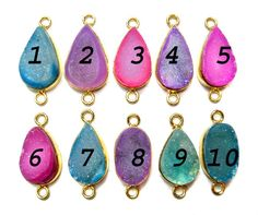 24 kt Gold Plated Druzy Connectors Mix colour fine by finegemstone, $10.00