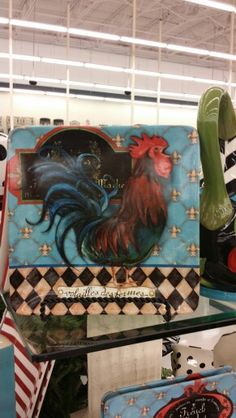 Square plate with rooster 2