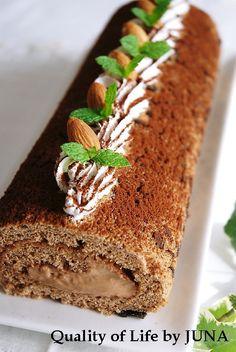 ふんわりやわらか♡ガナッシュクリームのチョコレートロールケーキのアイデア♪