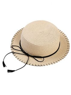 6b7d23be36402 Striped Band Wheat Straw Skimmer Hat
