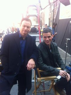 Gary Sinise and Eddie Cahill on the set of CSI: NY