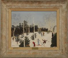 """GRANDMA MOSES (ANNA ROBERTSON) (1860-1961)  Untitled Skier Fallen with deer and man snowscene gouache on artist board  signed lower left Moses  Label on reverse from Robert Elkon Gallery, 1063 Madison Ave, New York, N.Y.   15 1/4"""" x 19 1/2"""" Included Documentation: Robert Elkon Gallery original bill of sale May 19, 1971 which states """"Formerly collection of Mrs. JoAnn List Levenson"""