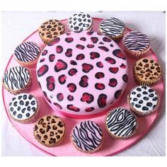 Animal Print Birthday Cake Cupcake Ideas ❤ liked on Polyvore