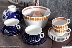 kirpputorilöytö,astiat,arabia valencia,arabia lappi Kitchenware, Tableware, Vintage Cups, My Cup Of Tea, Scandinavian Home, Places To Eat, Kitchen Interior, Ceramic Pottery, Finland