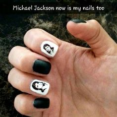 Michael Jackson nails , black and white I love this man beyond measure