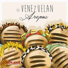 The Venezuelan Arepas This is a commission I did for the girl of Arepa House to show the. Venezuelan Food, Menu Design, Empanadas, Iphone, Food Truck, Bella, House, Collections, Memes