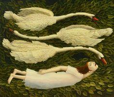 """HELEN FLOCKHART """"Swan Like"""", oil on canvas, 90cm x 105cm 2013"""