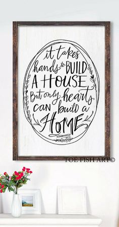 It Takes Hands to Build a House But Only Hearts Can Build a Home, Hand Lettered, Housewarming gift idea, farmhouse decor, farmhouse sign, rustic decor, rustic nursery home decor, Wood Sign, Wall Decor #ad