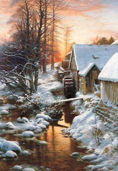 Joseph Farquharson - the silence of the snow bucket mill on the feugh finzean