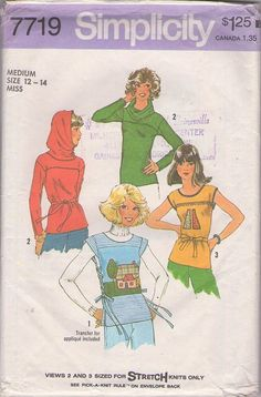 MOMSPatterns Vintage Sewing Patterns - Simplicity 7719 Vintage 70's Sewing Pattern MUST SEE Bohemian Era Cowl that Turns Into Hood Tshirt Top, Laced Corset Sides Apron Shirt, Appliques Size M