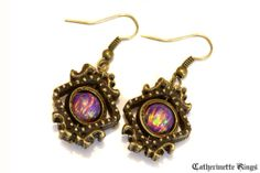 Neo Victorian Earrings - Lavender lab created opal - Bronze