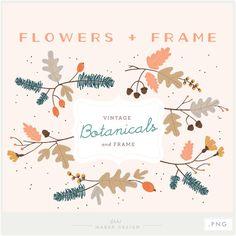 Botanicals & Frame PNG Files Floral Digital от ShhMakerDesign