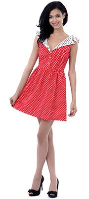 SALE! Red, White, & Black Polka Dot Collar Fit N Flare Dress