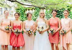 Pink and coral bridesmaid dresses, various designer including BHLDN