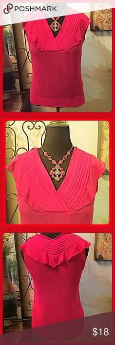 """30% OFF BUNDLES!💐Banana Republic Red V-Neck Top💐 Beautiful red top that works as a layering piece or on its own. It's a sheer poly crepe fabric so I'd recommend a cami underneath it. V-neck with pleats & flutters across the shoulder span in front & back as shown. Size M. Measurements: Bust=38"""", Length from Shoulder=24"""". TTS. Worn couple times and in great condition. Banana Republic Tops"""