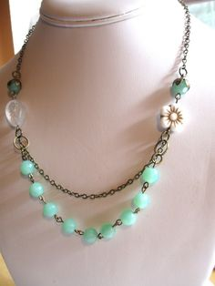 Mint Green Necklace  shabby chic jewelry  white by botanicalbird