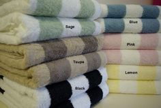With Love Home Decor - RT™ Striped Egyptian Cotton Bath Sheets, 2 Egyptian cotton Bath Sheets meauring Each. These are Royal Tradition, Egyptian Cotton with Reactive yarn Dye . Over each Bath-Sheet Machine Wash Made in Egypt Bathroom Towels, Bath Towels, Pink Baths, Black Bath, Bath Sheets, House Inside, Love Home, Egyptian Cotton, Taupe