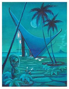 Moodxotica 2018 No 3 art print. from original painting by Dawn Frasier. 11 x 14 on archival paper, hand remarqued, signed and dated. Framed Wall Art, Wall Art Prints, Mod Wall, Tiki Art, Tiki Tiki, Tiki Decor, Tiki Lounge, Vintage Tiki, Tiki Room